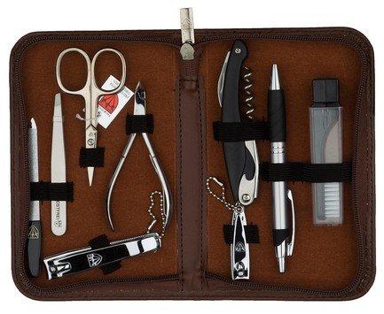 Маникюрный набор для мужчин, 9 пр., футляр под кожу, коричневый
