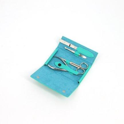 Маникюрный набор GD, 4 пр., покрытие никель, футляр из натуральной кожи, бирюзовый