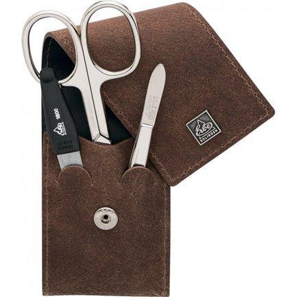Маникюрный набор, 3 пр., футляр из натуральной кожи, коричневый 9496ER Erbe набор инструментов gembird tk basic 12 пр