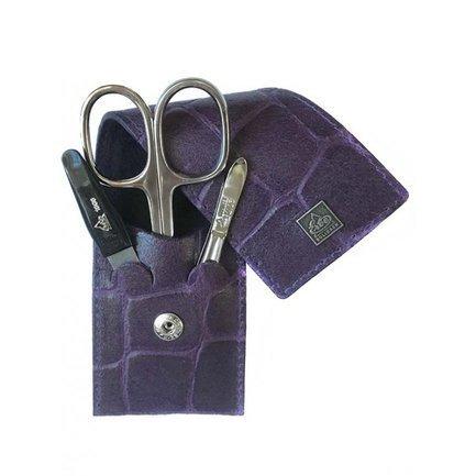 Маникюрный набор, 3 пр., футляр из натуральной кожи, фиолетовый 9714ER Erbe маникюрный набор 5 пр футляр из натуральной кожи черный 9361er erbe