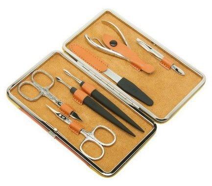 Маникюрный набор, 7 пр., в чехле из натуральной кожи, желто-оранжевый 504YO Dewal маникюрный набор 5 пр в чехле из натуральной кожи желто оранжевый 505yo dewal
