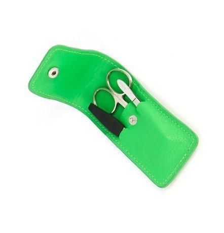 Маникюрный набор, 3 пр., в футляре из натуральной кожи, зеленый
