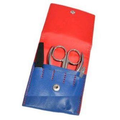 Маникюрный набор, 4 пр., в футляре из натуральной кожи, сине-красный
