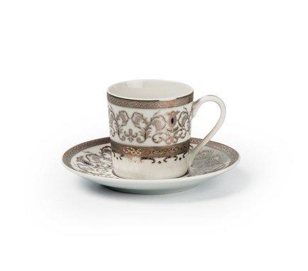 Набор кофейных пар Mimosa Prague Platine (100 мл), 12 пр. 539012 1647 Tunisie Porcelaine набор кофейных 6 пар carlsbad