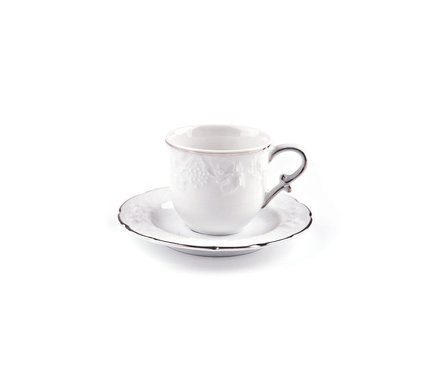 Кофейная пара Vendange Filet Platine (100 мл) 693510 0019 Tunisie Porcelaine чайник vendange filet platine 1 л 693110 0019 tunisie porcelaine