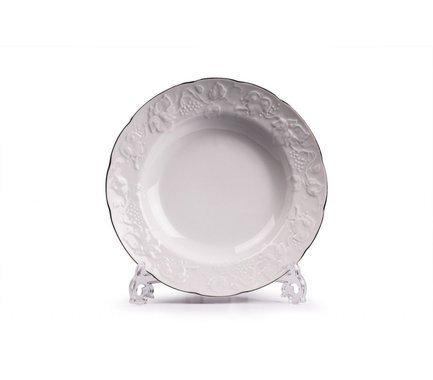 Тарелка глубокая Vendange Filet Platine, 22 см 690222 0019 Tunisie Porcelaine чайник vendange filet platine 1 л 693110 0019 tunisie porcelaine