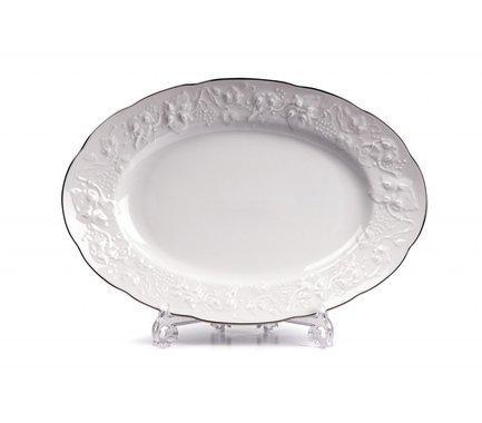 Фото - Блюдо овальное Vendange Filet Platine, 36 см 691236 0019 Tunisie Porcelaine блюдо овальное 36 см falkenporzellan блюдо овальное 36 см