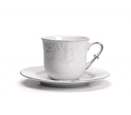 Набор чайных пар Vendange Filet Platine (200 мл), 12 пр 699506 0019 Tunisie Porcelaine чайник vendange filet platine 1 л 693110 0019 tunisie porcelaine