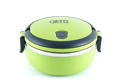 Ланч-бокс герметичный круглый с одним контейнером и складывающейся ручкой, зеленый 0286 Gipfel ланч бокс gipfel зеленый круглый