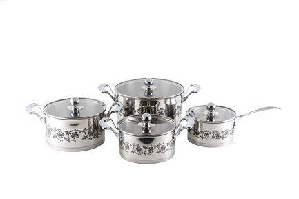 Набор посуды с металлическими крышками, 8 пр.