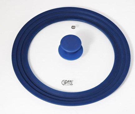 Крышка Gium стеклянная на 3 размера с силиконовой прокладкой, 28, 30, 32 см, синяя 1027 Gipfel