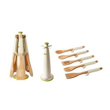 Набор кухонных инструментов Marcato из бука с силиконовыми ручками на пластиковой стойке, 6пр. 3449 Gipfel