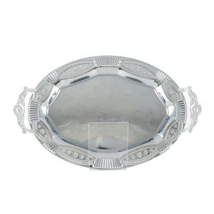Поднос металлический Lusia, 50х36 см, серебрянный