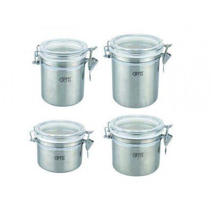 банка для сыпучих продуктов gipfel darna 1 л Набор банок Pule для герметичного хранения сыпучих продуктов, 4 шт. 5600 Gipfel