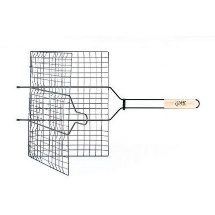 Решетка-гриль двойная металлическая с антипригарным покрытием Teflon, 65х40х30 см 5941 Gipfel