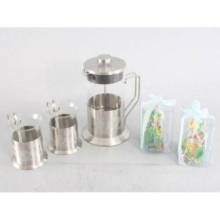Набор стеклянный заварочный чайник с поршнем (600 мл), 2 кружки (200 мл), 2 новогодние свечи 7127 Gipfel