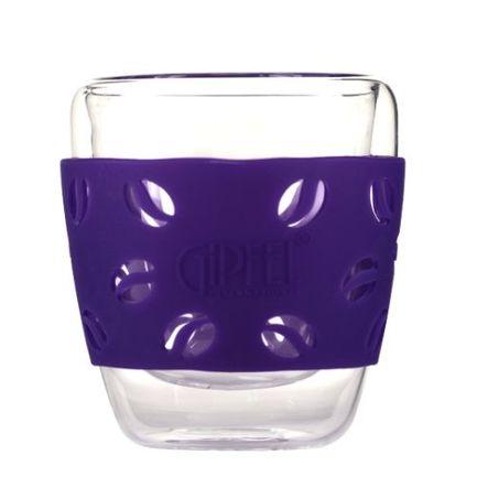 Стакан стеклянный Luminossi с двойными стенками и силиконовым держателем (200 мл), боросиликатное стекло, фиолетовый