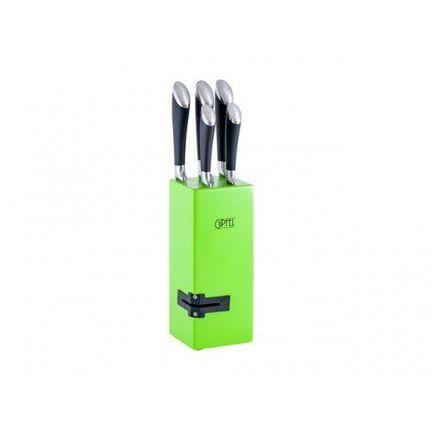 Набор кухонных ножей на деревянной подставке с ножеточкой, 6 пр. 8448 Gipfel набор ножей на подставке 6 пр 6697 gipfel