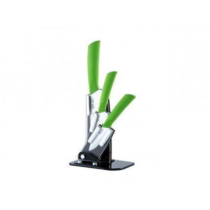 Набор кухонных ножей с керамическими лезвиями на подставке, белый, 4 пр.
