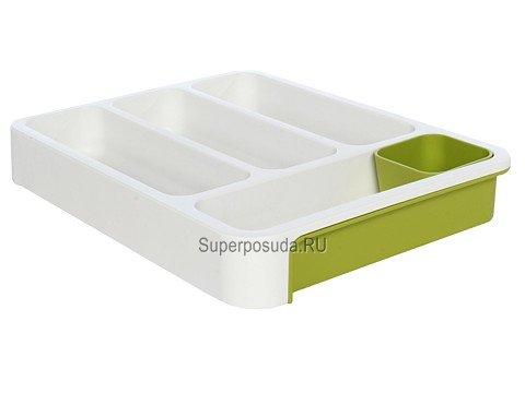 Раздвижной лоток под столовые приборы, 37х28x5 см, зеленый от Superposuda