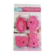 Qlux Формочки для печенья, 17х12х1.5 см, розовые, 4 шт
