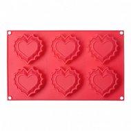 Walmer Форма для выпечки Sweet heart, 29.5х17.8х2.5 см, 6 кексов, красная