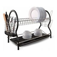 Walmer Cушилка для посуды 2-ярусная, 43x25.5x39 см, черная