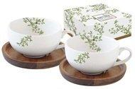 Easy Life (R2S) Набор чашек для кофе (120 мл) с крышками-подставками из акации Натура, 4 пр, в подарочной упаковке