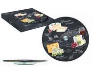 Easy Life (R2S) Блюдо стеклянное для сыра Мир сыров, 32 см, вращающееся