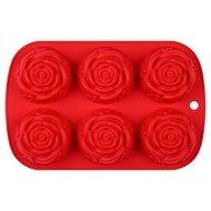Guffman Форма для выпечки Rose силиконовая, 24.5х16х3.2 см, красная