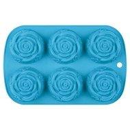 Guffman Форма для выпечки Rose силиконовая, 24.5х16х3.2 см, голубая