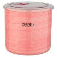 Guffman Банка Ceramics керамическая с крышкой, 13х12 см, розовая