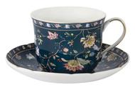 Anna Lafarg Чашка большая Флора (400 мл), синяя, с блюдцем