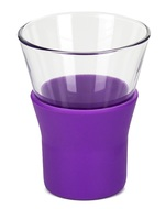 Bormioli Rocco Набор стаканов для кофе Ypsilon Brio (110 мл), с фиолетовой силиконовой подставкой, 4 шт