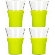 Bormioli Rocco Набор стаканов для кофе, чая Ypsilon Brio (220 мл), с зеленой силиконовой подставкой, 4 шт