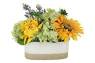 Dream Garden Декоративные цветы Подсолнухи и гортензии в вазе, 40х25х25 см