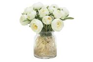 Dream Garden Декоративные цветы Купальницы белые в вазе, 20х20х23 см
