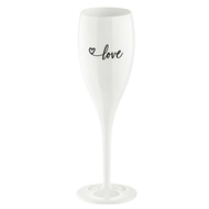 Koziol Бокал для шампанского (100 мл), с надписью Love 2.0, белый