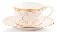 Noritake Чашка чайная с блюдцем Трефолио, золотой кант (225 мл)