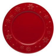 Bordallo Pinheiro Тарелка обеденная Снежинки, 28 см, красная