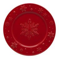 Bordallo Pinheiro Тарелка закусочная Снежинки, 22 см, красная