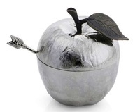 Michael Aram Банка для меда с ложкой Яблоко, 10х9х11 см, серебристая