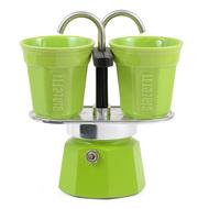 Bialetti Гейзерная кофеварка Mini Express (90 мл) на 2 чашки, зеленая
