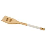 Лопатка с прорезями бамбуковая, 33 см, белая