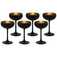 Stolzle Набор бокалов для шампанского Elements (230 мл), черный/золотой, 6 шт.