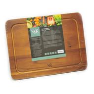 SKK Доска разделочная прямоугольная c желобом, 40.5х30.5х2 см, темное дерево