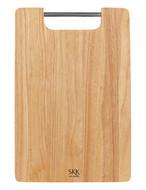 SKK Доска разделочная прямоугольная с металлической ручкой, 38х25.5х2 см, светлое дерево