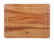 SKK Доска разделочная прямоугольная без ручки с желобом, 35х25х2 см, светлое дерево