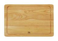 SKK Доска разделочная прямоугольная без ручки с желобом, 51х35.5х2 см, светлое дерево