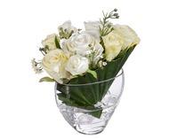 Treez Розы малые в Пальмовом листе, в вазе с кристаллами, 23 см